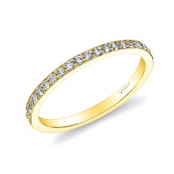 14KY  Milgrain Diamond Band .09ct tw 21 Round Diamonds