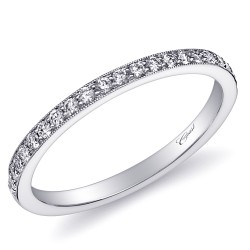 14KW  Milgrain Diamond Band .20ct tw 21 Round Diamonds