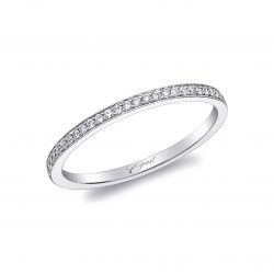 14KW  Milgrain Diamond Band .09ct tw 21 Round Diamonds