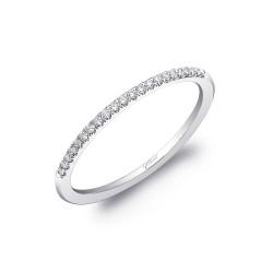 14K White Gold Diamond Wedding Band with 21 Round Diamonds at 0.08ct tw