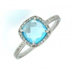 14KW Blue Topaz & Diamond Ring
