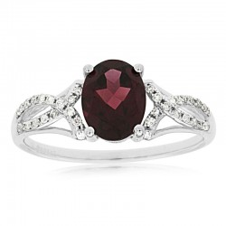 14KW Rhodolite Garnet & Diamond Ring