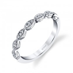 14K White Diamond Band With Miligrain Edge 21 Round Diamonds .12ct tw F