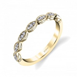 14KY Diamond Band With Miligrain Edge 21 Round Diamonds .12Ct Tw