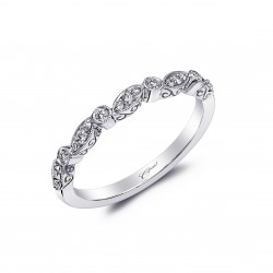 14KW Diamond Band Fine Pave Milgrain .16Ct Tw 21 Round Diamonds