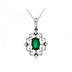14KW Emerald & Diamond Pendant