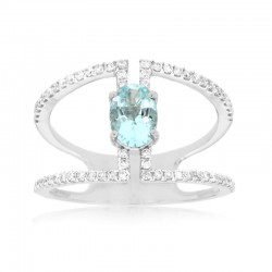 14KW Aquamarine & Diamond Ring