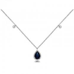 14KW Sapphire & Diamond Pendant