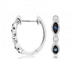 14KW Sapphire & Diamond Hoop Earrings
