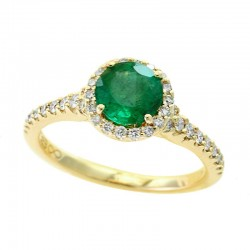 Lady's 14KY Gold Fashion with 0.66ct Round Emerald and 38=0.34tw Round Diamonds, Size 7