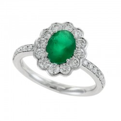 14K White Gold Diamond & Emerald Women's Ring Round Diamonds 0.76 TCW & Oval Emerald 1.14 TCW