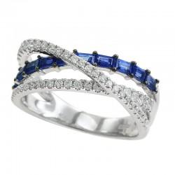 14K White Gold Women's Diamond & Sapphire Ring. Round Diamonds 0.40 TCW & Baguette Blue Sapphires