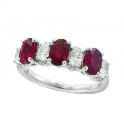 14K White Gold Women's Diamond & Natural Ruby Ring. Round Diamonds 0.68 TCW & Oval Red Ruby 1.71 TCW