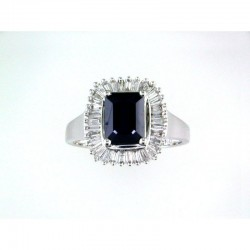 14K White Gold Diamond & Natural Sapphire Ring. Baguette Diamonds 0.50 TCW & Princes Cut Sapphire 1.52 TCW
