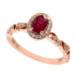 Lady's 14K Rose Gold Diamond (0.2tdw) & Ruby (0.37tcw) Ring, Size 7
