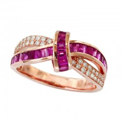 14K Rose Gold Women's Diamond & Ruby Ring. Round Diamonds 0.20 TCW & Baguette Rubies 0.76 TCW