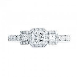 14KW 3-Stone Princess Cut Halo Diamond Engagement Ring