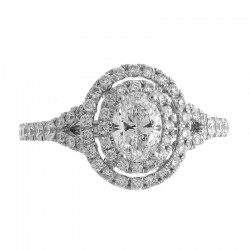 14KW Oval Double Halo Diamond Engagement Ring