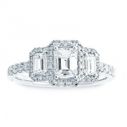 14KW 3-Stone Emerald Cut Halo Diamond Engagement Ring
