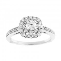 14KW Round Double Halo Diamond Engagement Ring