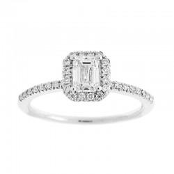 14KW Emerald Cut Halo Diamond Engagement Ring