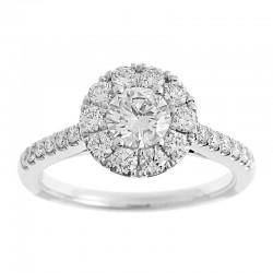 14KW Round Halo Diamond Engagement Ring