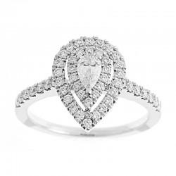 14KW Pear Shape Double Halo Diamond Engagement Ring