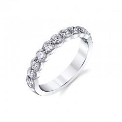 14K White Diamond Wedding Band Milgrain with 10 Round Diamonds at .76ct tw