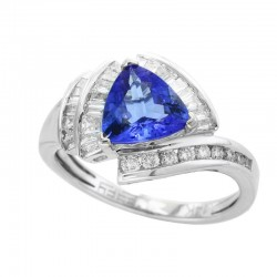 14K White Gold Trillion Tanzanite and Diamond Ring