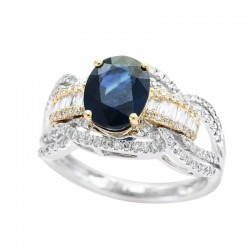 Lady's 14KWY Gold Sapphire (1.43tcw) & Diamond (0.47tdw) Ring, Size 7