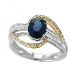 14K White & Yellow Gold Diamond & Natural Sapphire Ring. Round & Baguette Diamonds 0.38 TCW & Oval Sapphire 1.42 TCW