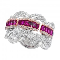 Lady's 14KW & Rose Gold Ruby (0.18tcw) & Diamond 0.75tdw) Ring, Size 7