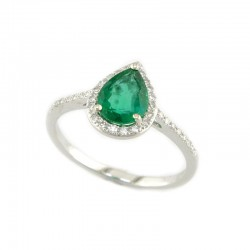 Lady's 14KW Gold Fashion Ring with 0.80ct Pear Emerald and 34=0.15tw Round Diamonds, Size 7