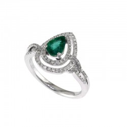 14K White Gold Diamond & Natural Emerald Ring. Round Diamonds 0.32 TCW & Pear Emerald 0.57 TCW