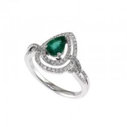 14K White Gold Diamond & Natural Emerald Ring. Round Diamonds 0.32 TCW & Pear Emerald 0.57 TCW