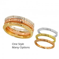 14K Yellow White & Rose Gold 3 stack Ring Set. Round Diamonds 0.26 TCW