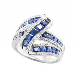14K White Gold Diamond & Natural Sapphire Ring. Round Diamonds 0.60 TCW & Princess Cut Sapphires 3.28 TCW