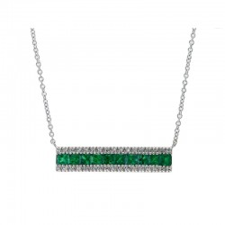 Lady's 14KW Gold Necklace with 10=0.87tw Emeralds and 34=0.13tw Round Diamonds