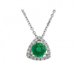 14K White Gold Diamond & Emerald Pendant Round Diamonds 0.13 TCW & Round Emerald 0.81 TCW