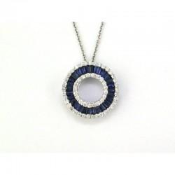 14KW Sapphire & Diamond Circle Pendant