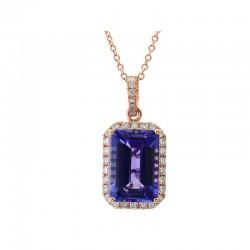 14R Tanzanite and Diamond Pendant