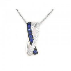 Lady's 14KW Gold Pendant with 7=0.12tw Round Sapphires and 16=0.07tw Round Diamonds