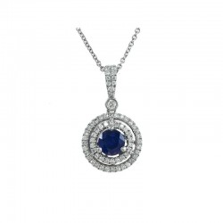 Lady's 14KW Sapphire (0.3tcw) & Diamond (0.27tdw) Pendant