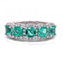 18KW Emerald & Diamond Ring