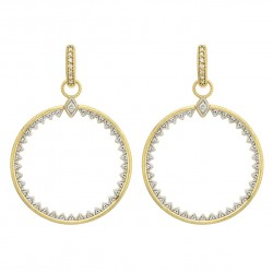 JudeFrances 18KY Lisse Medium Open Circle Half Kite Earring Charms