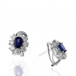 Ryan Gems 14K White Gold Diamond & Sapphire Button Earrings