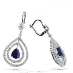 Ryan Gems Inc 14K White Gold Diamond & Sapphire Earrings