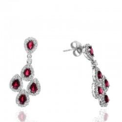 Ryan Gems 14K White Diamond & Ruby Drop Earrings