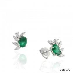 Ryan Gems 14K White Gold Diamond & Emerald Stud Earrings