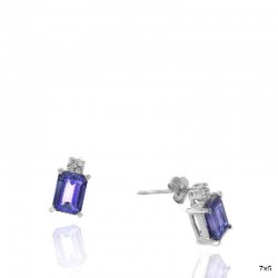 Ryan Gems 14K White Gold Diamond & Tanzanite Stud Earrings